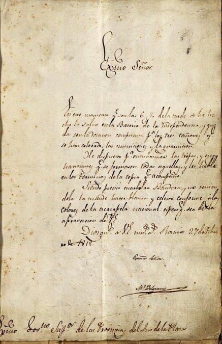 Oficio de Manuel Belgrano al gobierno de Buenos Aires