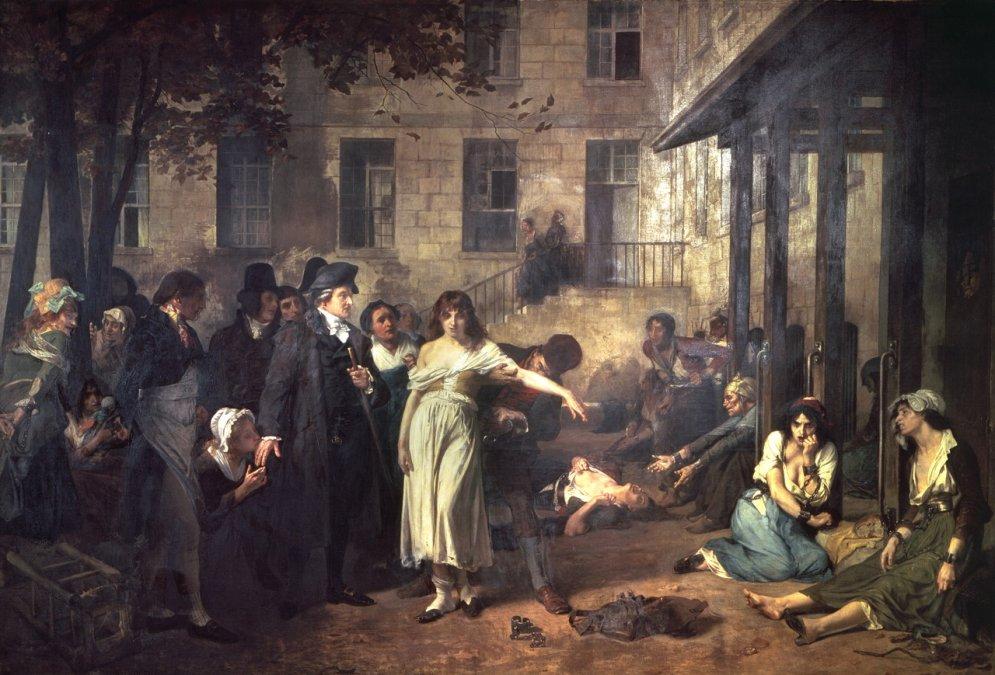 El médico francés Philippe Pinel ordena que quiten las cadenas a las locas del hospital Salpetriere (1795).