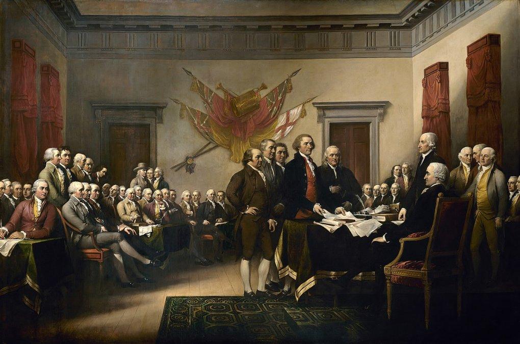 Declaración de la Independencia. Pintura de John Trumbull representando al Comité de los Cinco entregando el borrador de la Declaración de Independencia al Congreso el 28 de junio de 1776.
