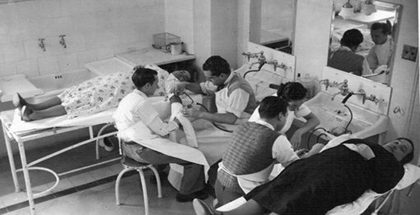 Frederic Durán Jordà al frente de las transfusiones de sangre habilitadas durante la Guerra Civil en Barcelona (1936-1938).