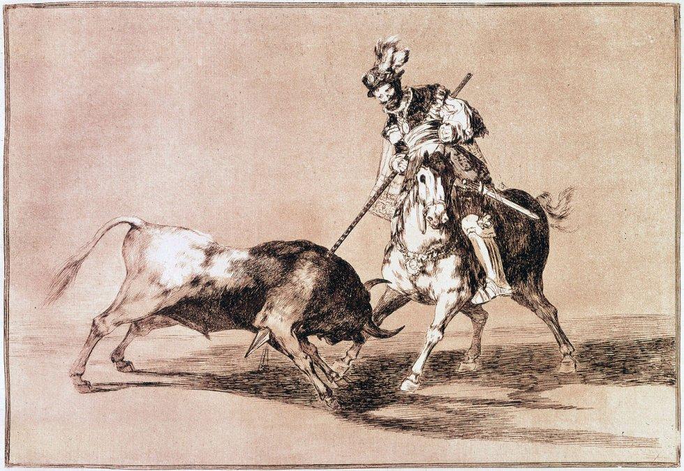 El Cid Campeador lanceando otro toro - Francisco de Goya - Grabado n.º 11 de La tauromaquia