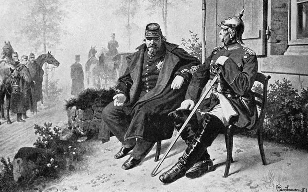 Otto von Bismarck (derecha) y Napoleón III tras la batalla de Sedán.