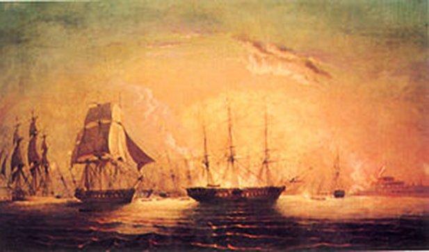 La escuadra chilena del almirante Thomas Cochrane bloqueando por tercera vez el puerto del Callao.