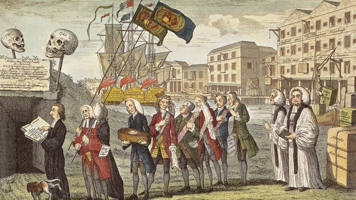 Esta caricatura representa la derogación de la Stamp Act como un funeral