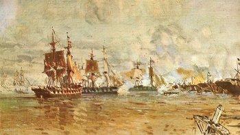 La armada anglo-francesa fuerza su paso a través de la Vuelta de Obligado.
