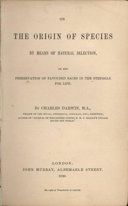 El origen de las especies —título original en inglés: On the Origin of Species— Página interior con el título de la edición de 1859.