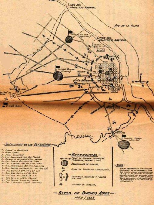 Mapa del sitio de Buenos Aires (1852).