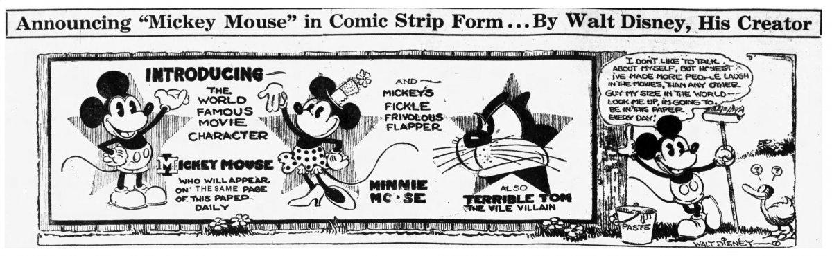 Anuncio de la llegada de Mickey Mouse a los comics
