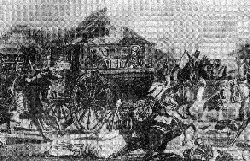 Asesinato de Quiroga en Barranca Yaco. Litografía de H. Bacle.