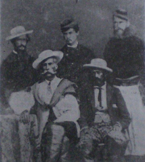 Felipe Varela(izq. abajo) y sus lugartenientes. Comando de las fuerzas federales de La Rioja y Catamarca.