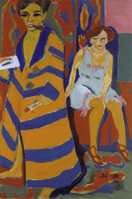 Autorretrato con Modelo - Kirchner (1910).