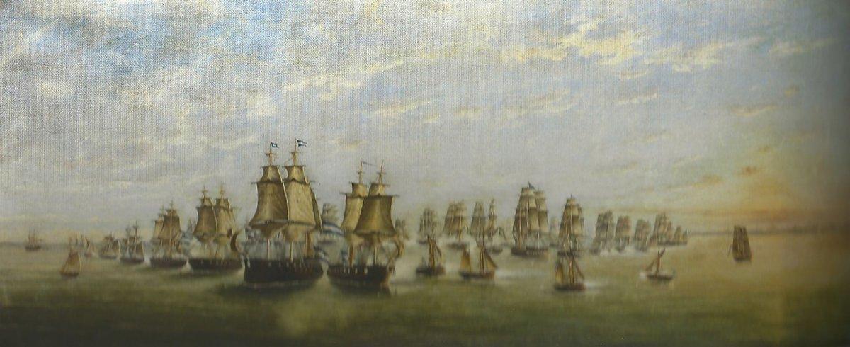 Segunda posición del combate naval de los pozos. Guerra contra el Imperio del Brasil (1826-1828). Conservada en el Museo Naval de Tigre.