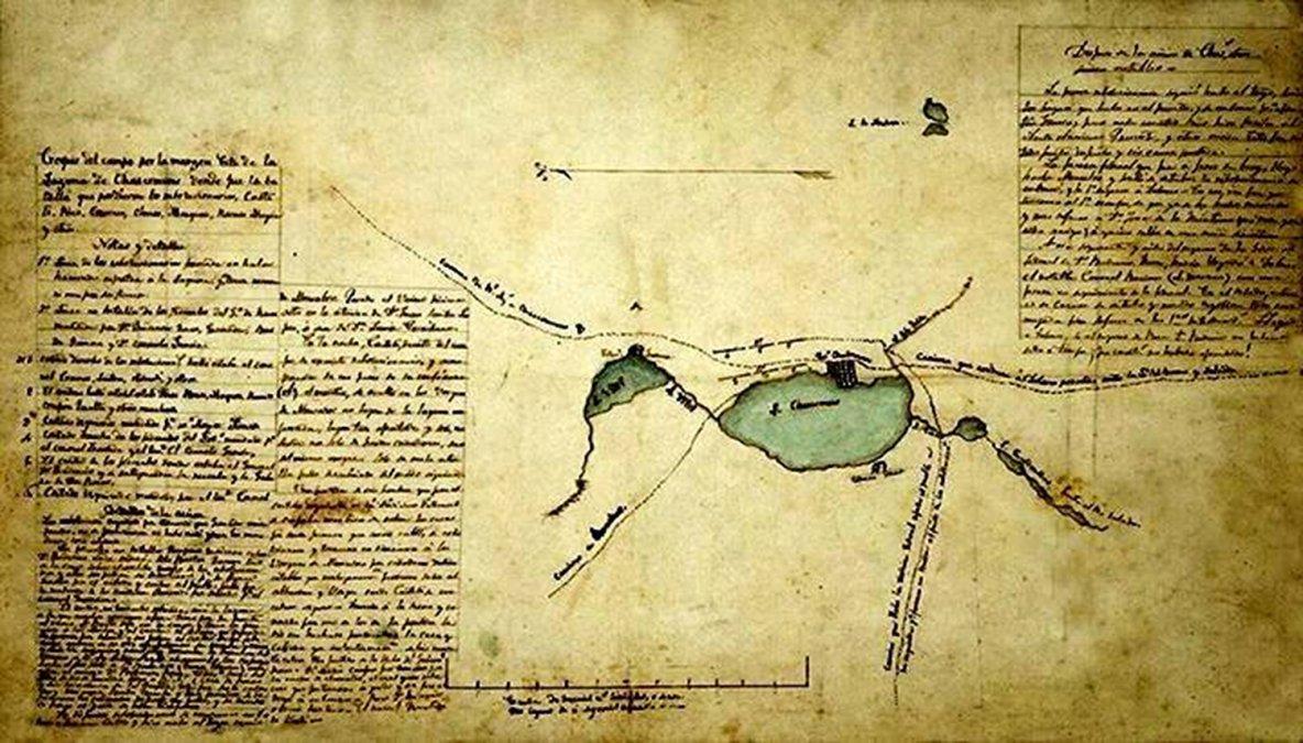 Croquis de la Batalla de Chascomús.