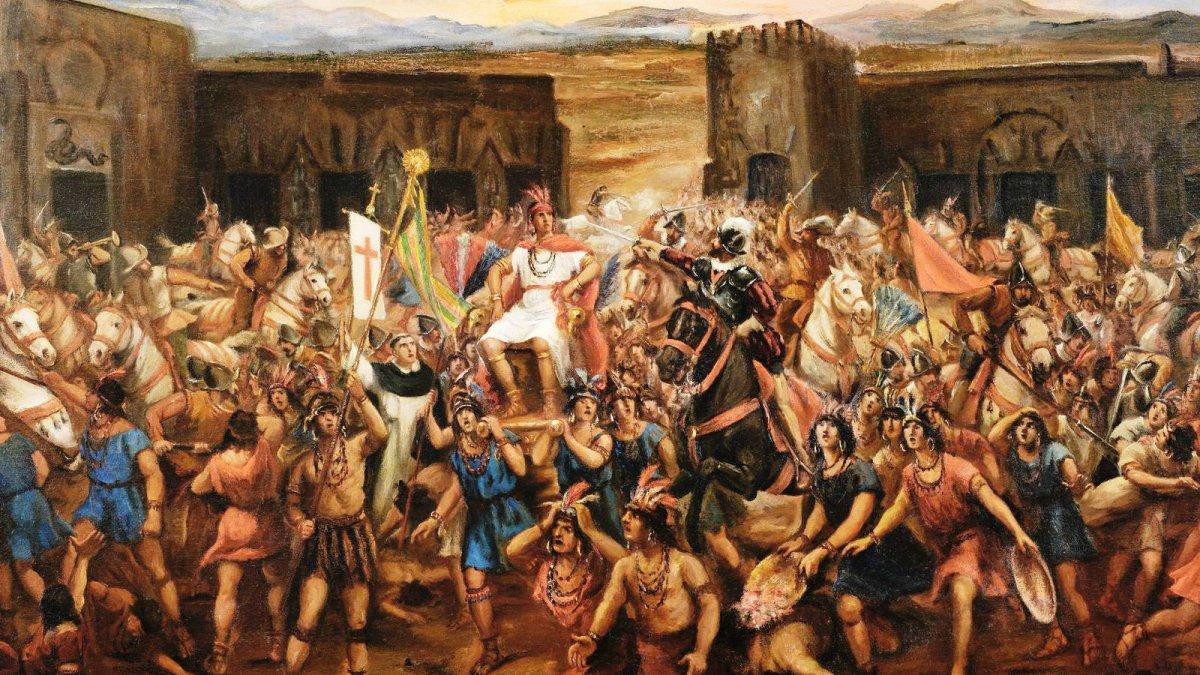 La captura de Atahualpa. Óleo de Juan B. Lepiani