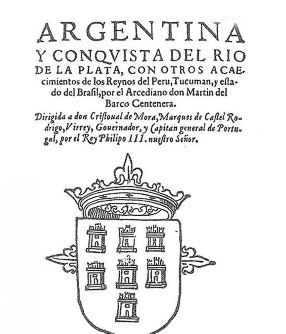 Portada de la primera edición del poema Argentina de Martín del Barco Centenera