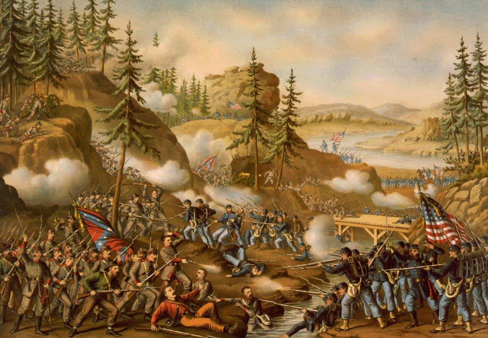 Representación pictórica de la Batalla de Chattanooga.