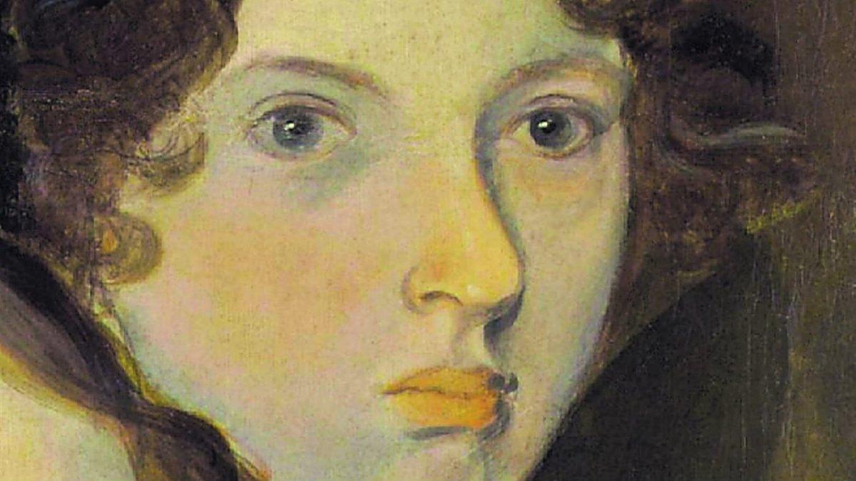Retrato de Emily Brontë pintado por su hermano Branwell.