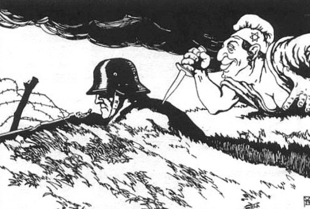 Ilustración en una postalaustriacade 1919 en la que se ve a una mujer judía atacando por la espalda alejército alemán.