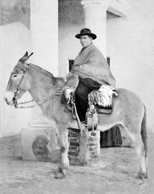 El cura Brochero montado en su mula «Malacara».