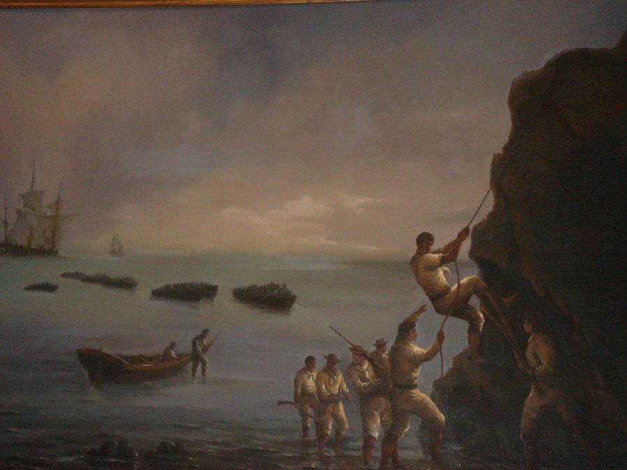 Óleo que describe la toma de Valdivia; se conserva actualmente en el Museo Naval y Marítimo de laArmada de Chile.