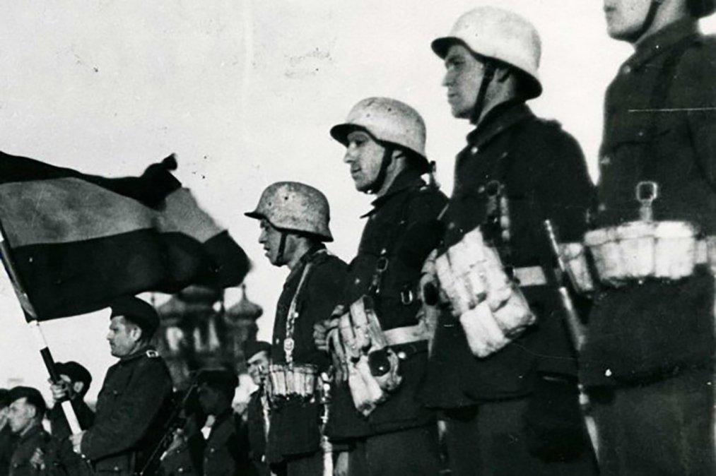 Soldados de la División Azul en el frente oriental.