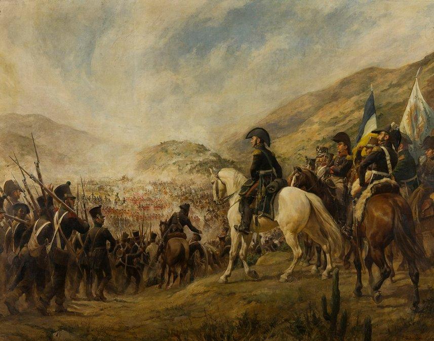 {altText(Tropas chilenas y argentinas rumbo a laBatalla de Chacabuco(12 de febrero de 1817), lideradas porJosé de San Martín. Cuadro de<font color=