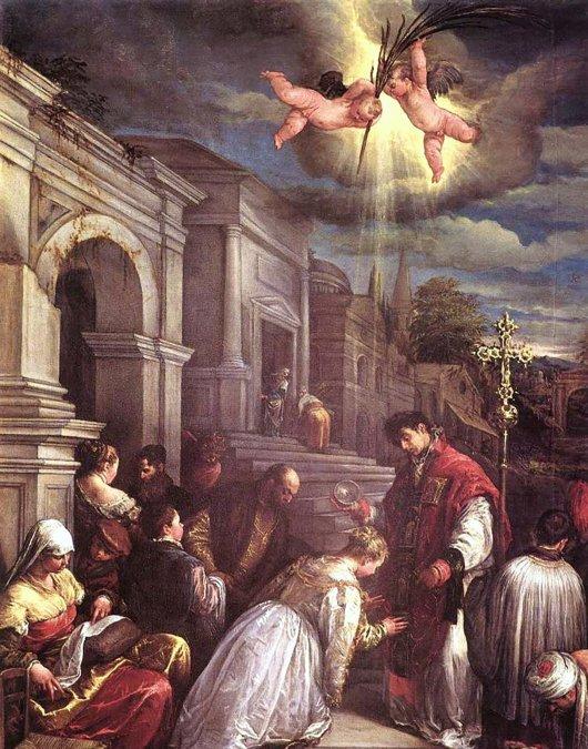 San Valentín de Romarealizando una ceremonia matrimonial a escondidas del emperadorClaudio II