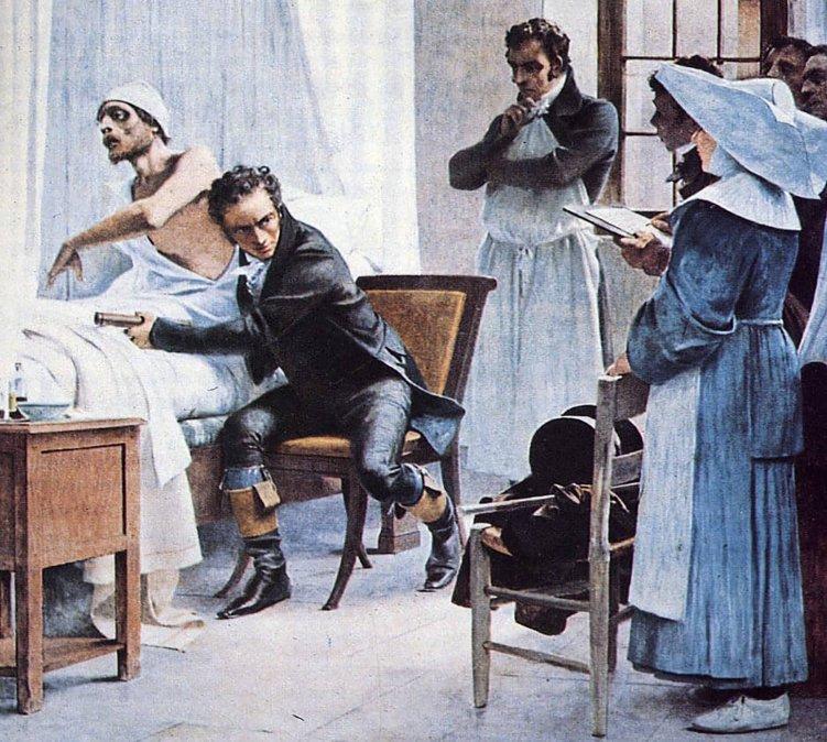 Laënnec en el Hospital Necker auscultando a un paciente tuberculoso delante de sus alumnos