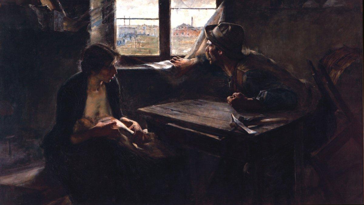 Sin pan y sin trabajo -Ernesto de la Cárcova