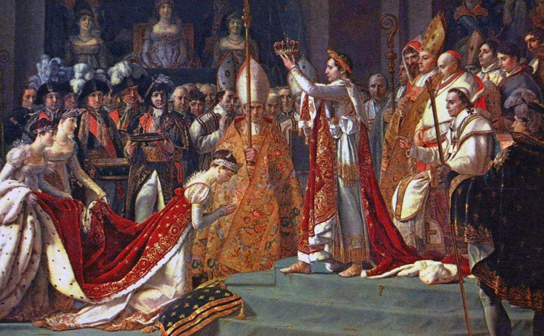 Josefina se arrodilla ante Napoleón en su coronación en un célebre cuadro de Jacques-Louis David (1805-07).