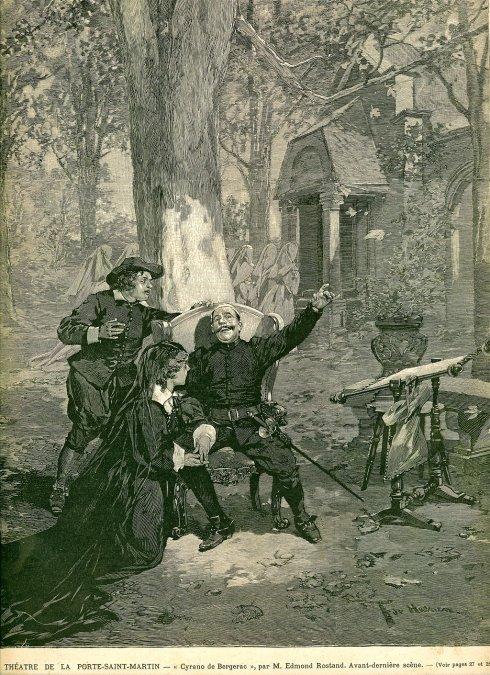 Ilustración de una escena de la obra de teatro de Cyrano de Bergerac de 1898.