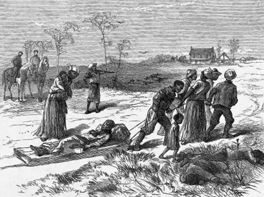 Un dibujo de Harpers Weekly representa a los negros recogiendo los cuerpos de los asesinados después de la masacre.
