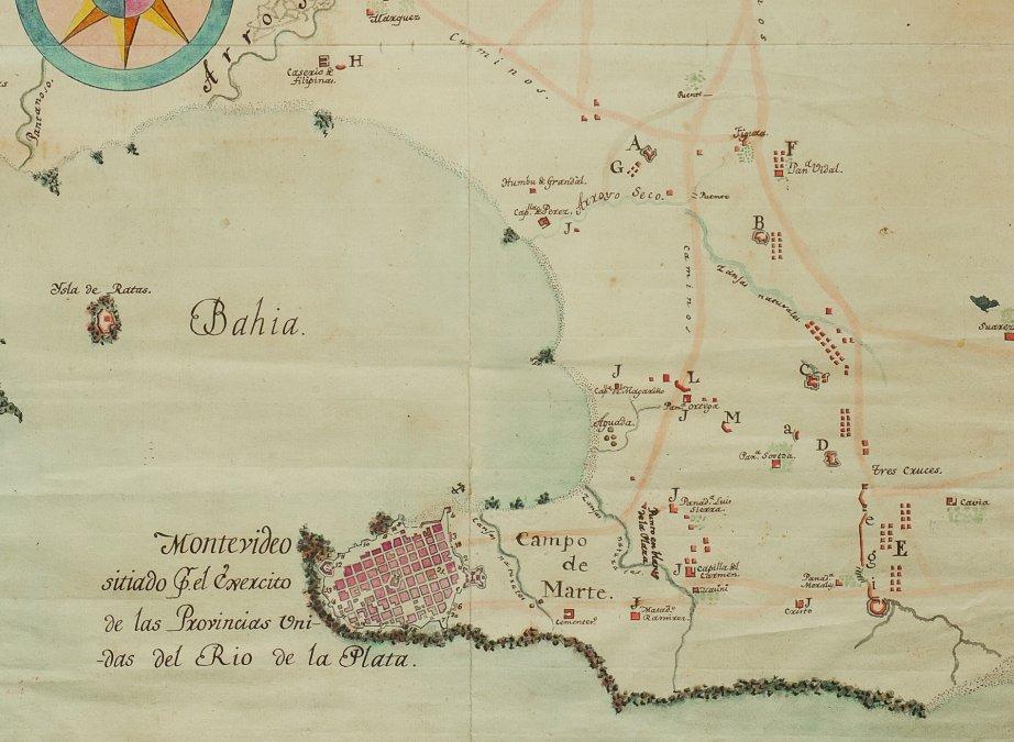 Mapa de la bahía de Montevideo.