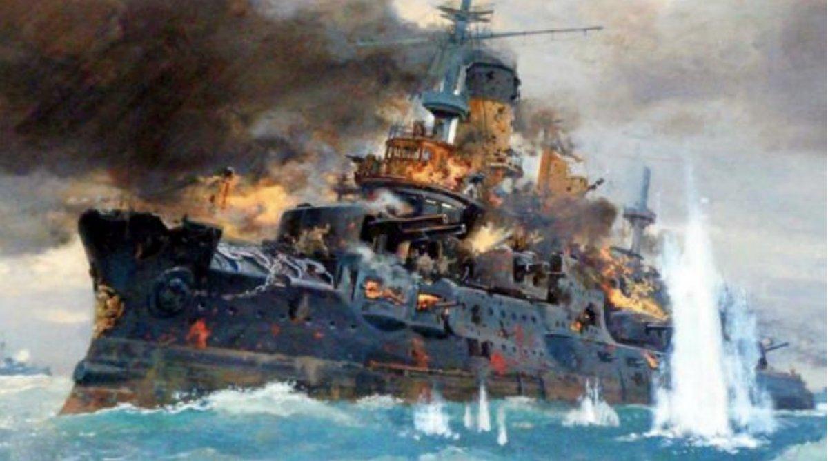 Representación de una de las escenas de la batalla de Tsushima