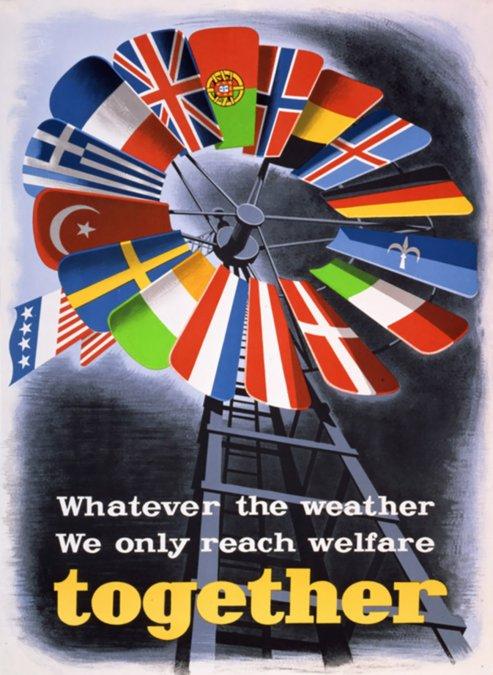 Cartel creado para promover el Plan Marshall en Europa. En el cartel puede leerseCualquiera que sea el clima sólo juntos alcanzamos la prosperidad.