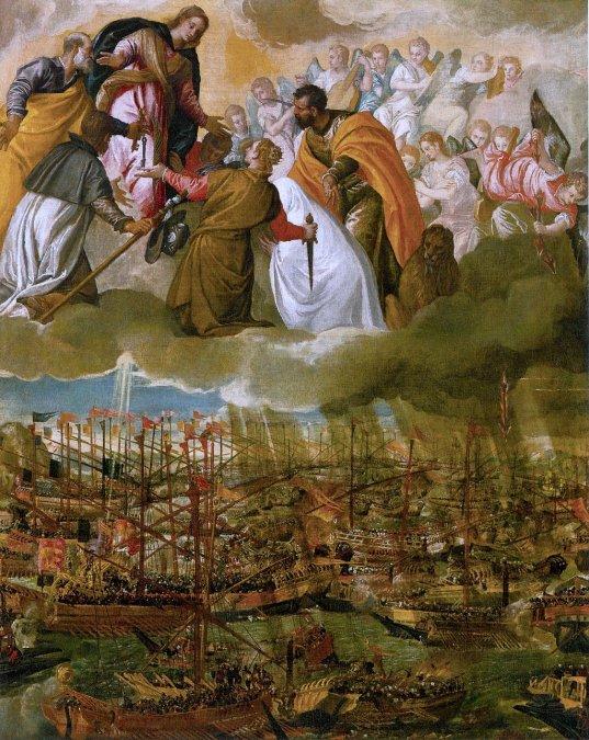 Alegoría de la Batalla de Lepanto. Representa a la Virgen María intercediendo por las tropas cristianas.