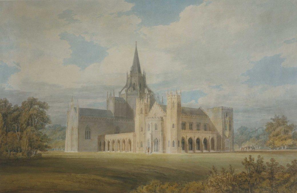 Fonthill desde el suroeste pintado por William Turner en 1799.