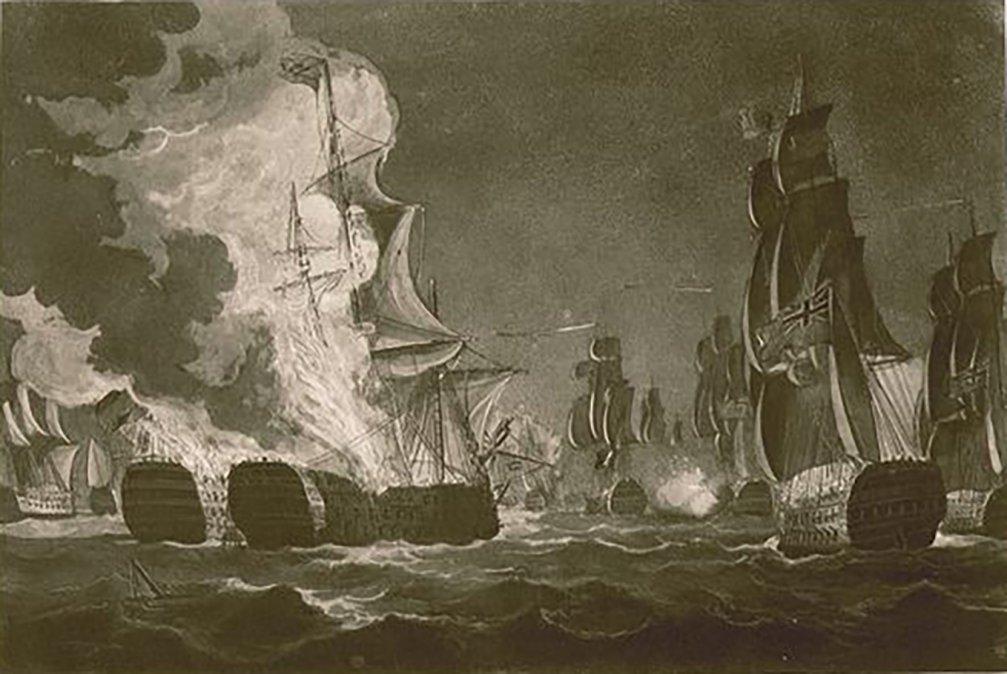 ElnavíoReal Carlosy elSan Hermenegildomomentos antes de estallar en la mar a causa del fuego amigo