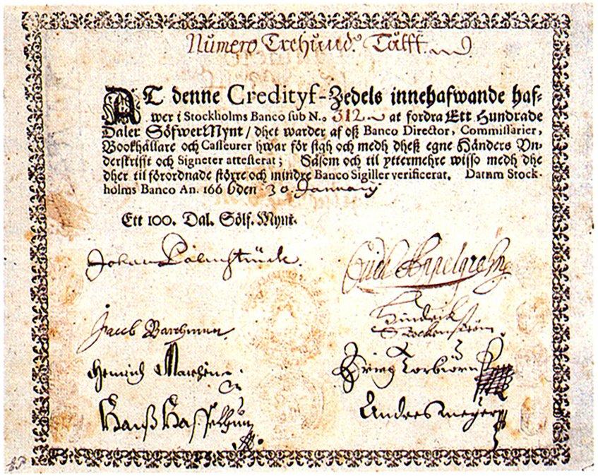 El primerpapel monedaen Europa (1661).