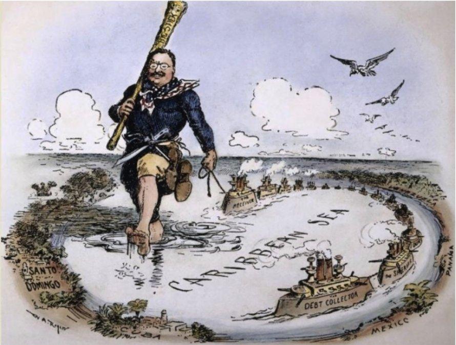 El presidente Roosevelt y su política del Gran Garrote en el Caribe. Caricatura deWilliam Allen Rogers de 1904