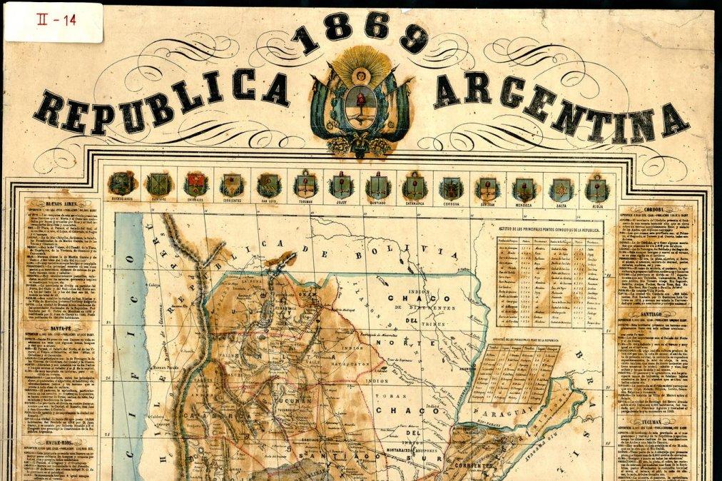 Un mapa de la República Argentina de 1869 con las 14 provincias de entonces.