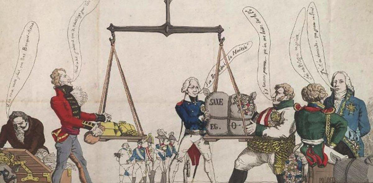 Caricatura sobre el equilibrio de poderes  entre las grandes potencias