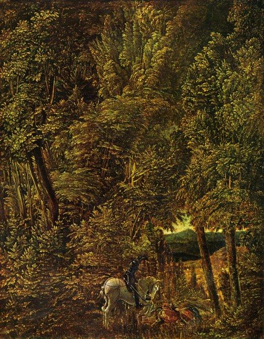 Albrecht Altdorfer. Bosque con san Jorge matando al dragón