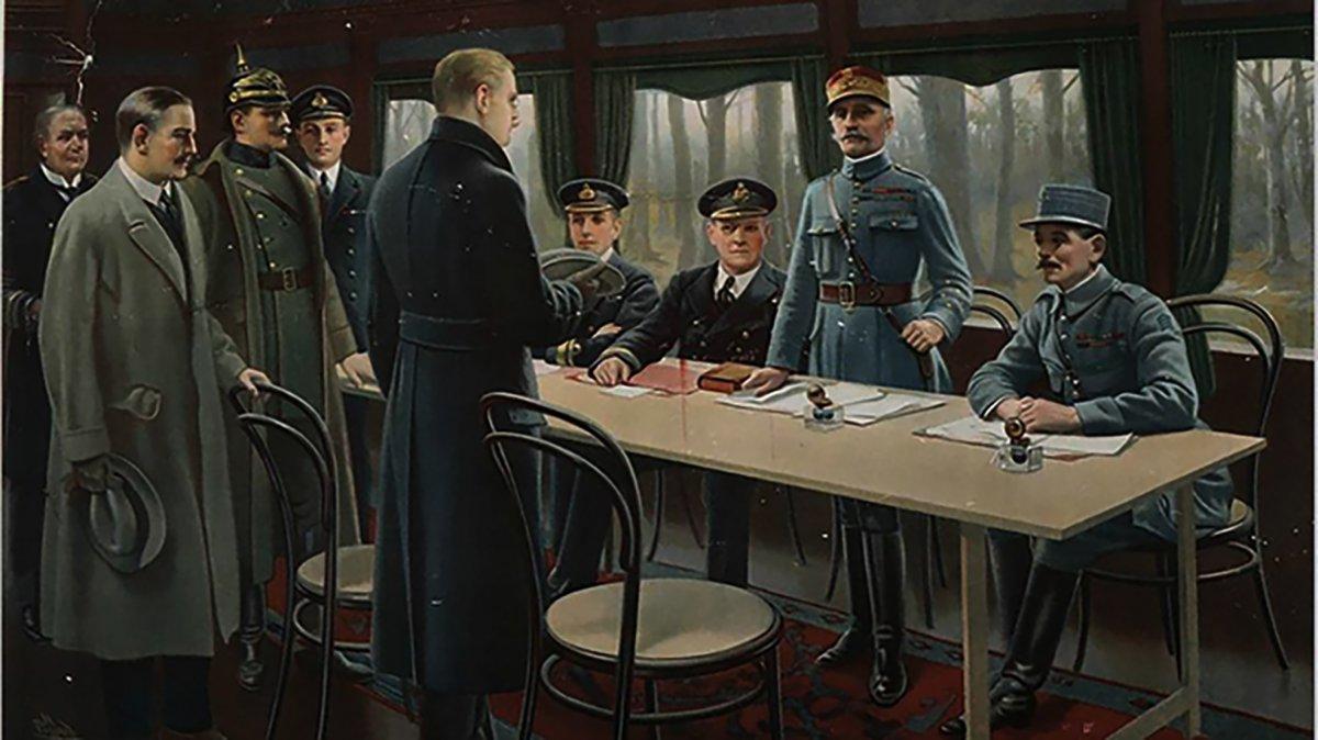 Representación de del Armisticio que puso fin a la Primera Guerra  Mundial