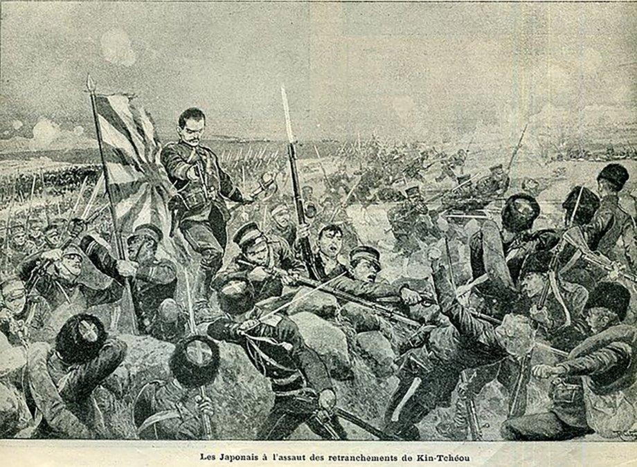 Tropas japonesas asaltando una trinchera rusa.