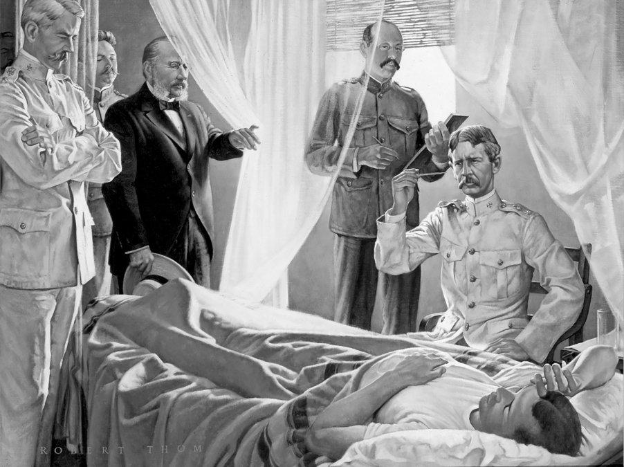 Pintura por Robert Thom mostrando los miembros del comité de la fiebre  amarilla (Gorgas
