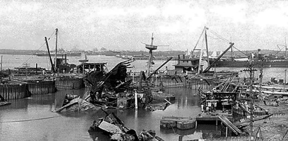 El acorazadao Maine hundido en el puerto de La Habana