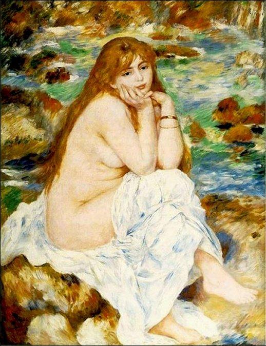 Bañista sentada (Aline Charigot) 1883-84 - Auguste Renoir - Univeridad de Harvard
