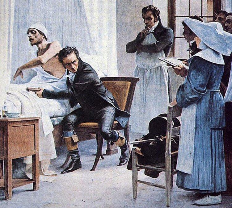 El Dr. Laënnec auscultando a un paciente tuberculoso enfrente a sus estudiantes en el Hospital Necker •1816 • Théobald Chartran • Sorbona