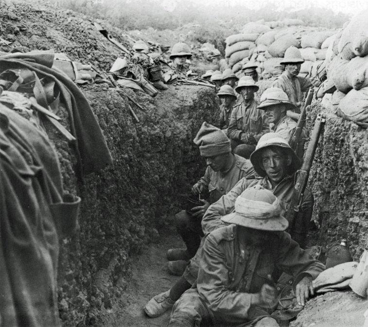 Soldados de los Fusileros Reales Irlandeses en Galípoli en el otoño de 1915.